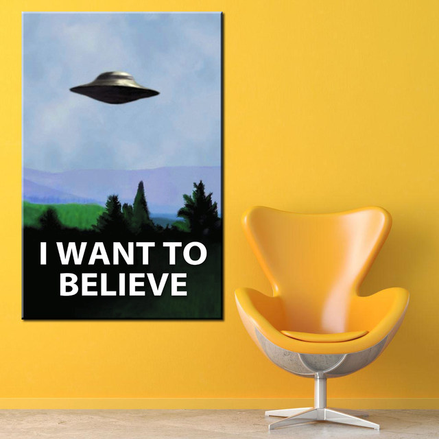 Online Shop xdr918 I WANT TO BELIEVE - Black and White Art Wall ...