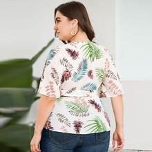 Seluxu 2019 Autumn Plus Size Women Tops Sexy V-Neck Floral Print T-Shirt Elegant Sashes Half Sleeve