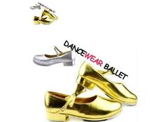 New Free Shipping Discount High Quality Gold Black Girls Flat Tap Shoes Kids Ties Girls Tap Dance Shoes