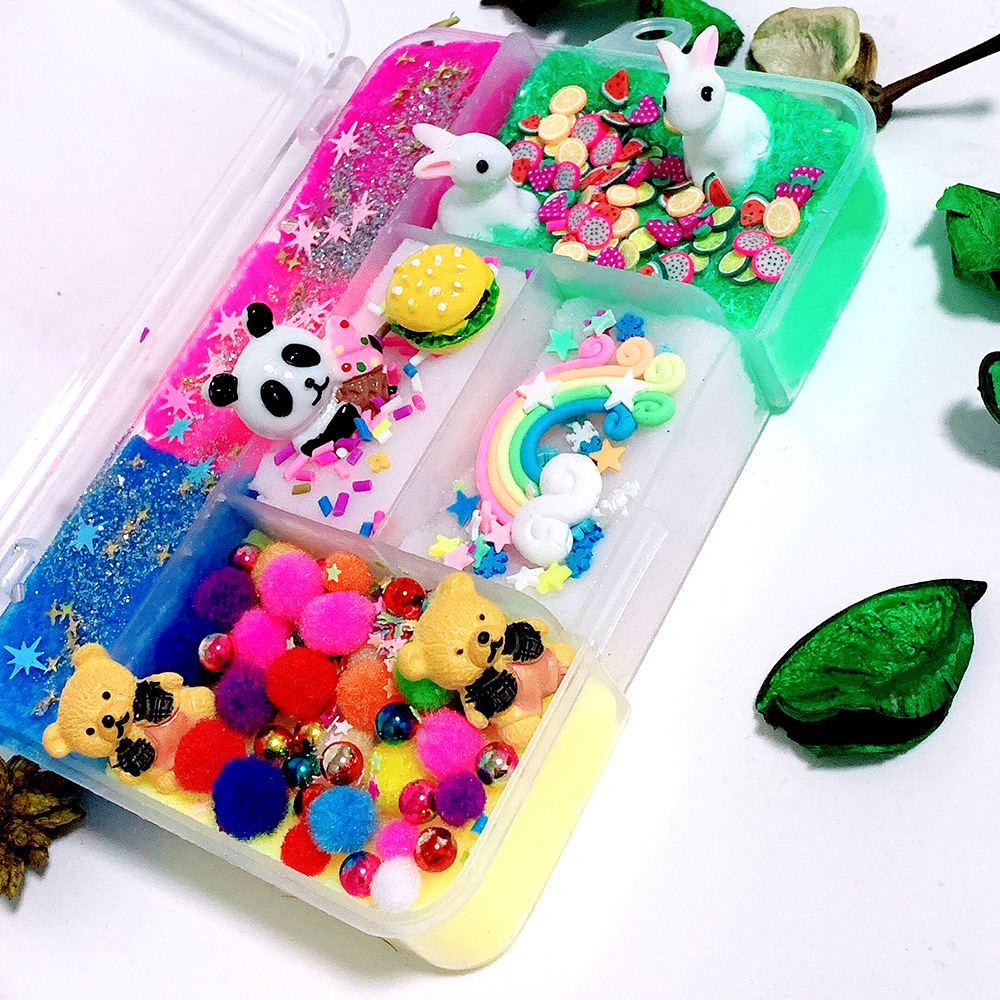 Putty Polymer Lizun Slimes Light Plasticine Antistress Toys for Children Fluffy Slime Box Diy Soft Clay Slime Supplies in Modeling Clay from Toys Hobbies