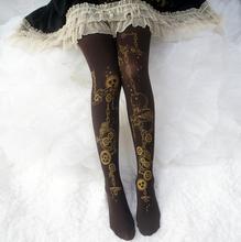 Medias de Lolita estampadas para mujer, ropa de princesa, Steampunk, marron, Lolita, 120 d