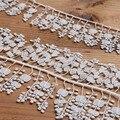 Изысканные белые кружевные аксессуары с бахромой, зеркальная Водорастворимая Вышивка, кружевная отделка, ширина 7 см