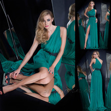 2014 One Shoulder Side Slit Green Chiffon Long Bridesmaid Dress