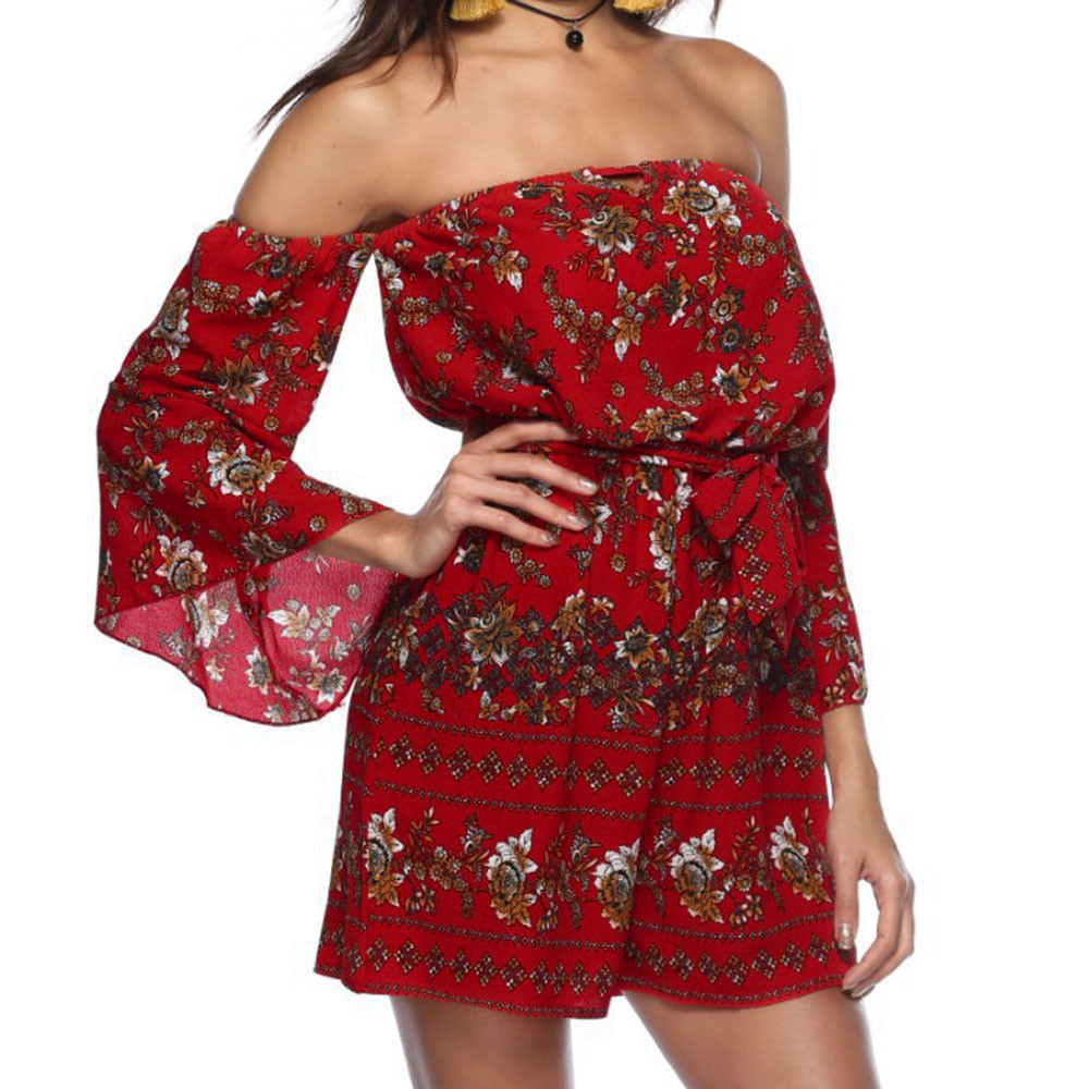 Bohe jumpsuits for women 2018 Fashion Womens Floral Printing Off Shoulder Sleeve Romp elegant Jumpsuit Casual romper B20