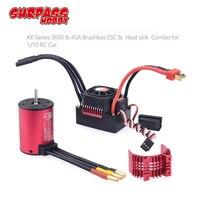 SURPASSHOBBY KK Waterproof Combo 3650 1650KV 2050KV 2300KV 3100KV Brushless Motor w/Heat Sink 45A ESC for RC 1/10 RC Car