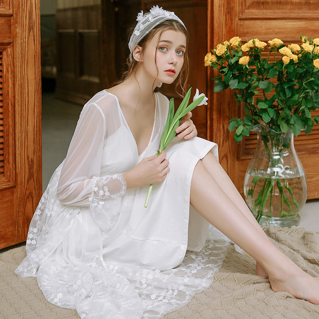 e6f62ab8f3022 Maternity Sleepwear Pijama Retro Palace Nightgown Women V Neck Lace Cotton  Long Sleeved White Pajamas Dress