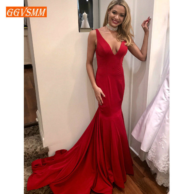 Simple Red Mermaid Evening Dress 2019 Sexy Long Prom Gown V Neck Real Photos Satin Backless Cheap Women Evening Party Dresses
