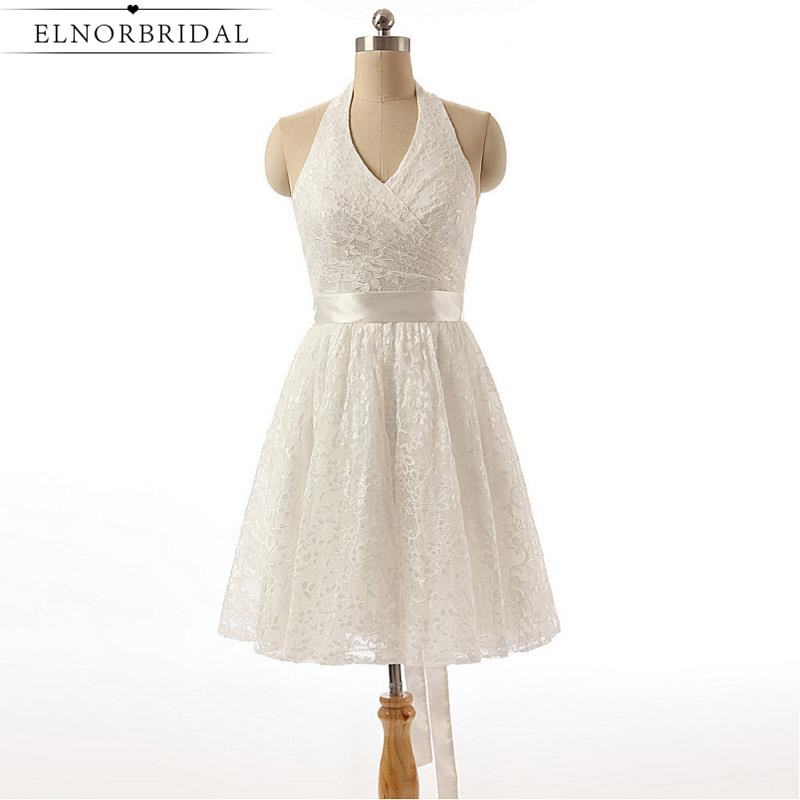 Vintage Knä Längd Blond Bröllopsklänningar 2019 Sexy Halter Vestido De Noiva Custom Made Brudklänningar från Kina Gratis frakt