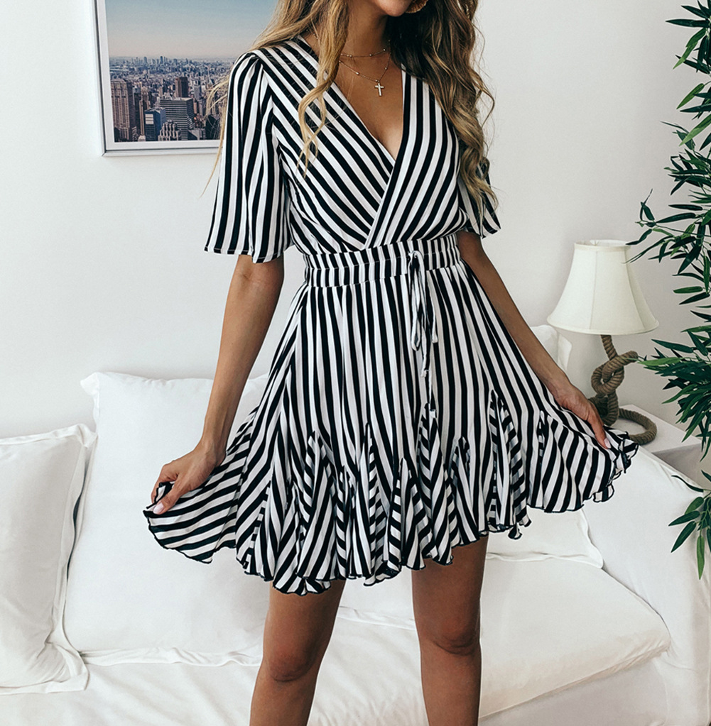 Summer Striped Empire Sexy Long Shirt Party Dress Cotton Short Sleeve Casual Draped Club Dress in Dresses from Women 39 s Clothing