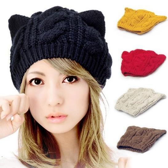 2015 vogue das mulheres tampas de malha com orelhas de gato sharp tricô  chapéus Mulheres Quentes Gorros Crochet Chapéus Hip Hop Cap Gorro De Esqui  chapéu 919d9699102