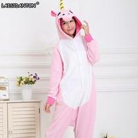 Unisex Adult Winter Pajamas 2017 Unicorn Animal Pajama Sets Sexy Hooded Homewear Flannel Sleepwear Female Cute