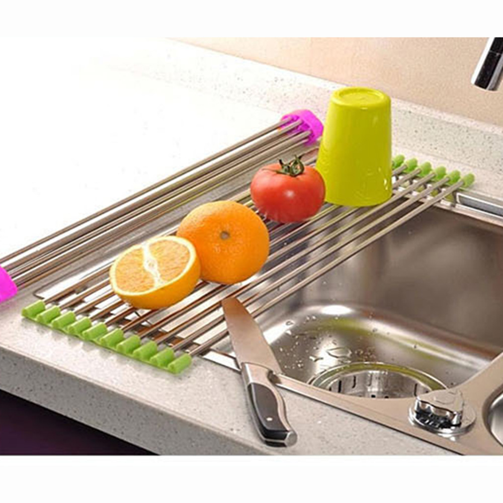 kitchen draining drainer rack sink drain rack cutlery shelving fruit vegetable stainless steel compact dish rack set kc1138 - Compact Kitchen Sink
