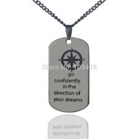 Персонализированные Имя dog tag Цепочки и ожерелья Компасы начальной кулон выгравирован вера & Любовь Цепочки и ожерелья мужские Титан цепи