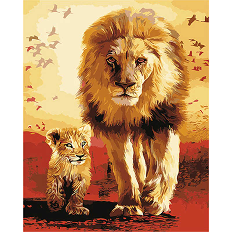 Painting By Numbers DIY Dropshipping 40x50 50x65cm Warm lion and father Animal Canvas Wedding Decoration Art picture Gift