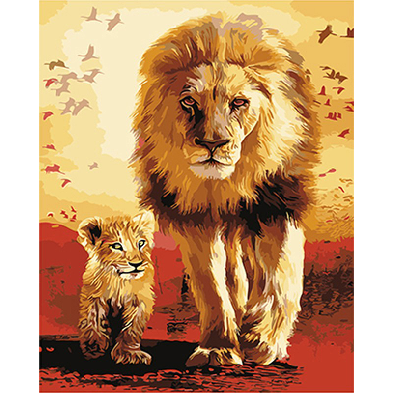 Popular Product  Painting By Numbers DIY Dropshipping 40x50 50x65cm Warm lion and father Animal Canvas Wedding Decor