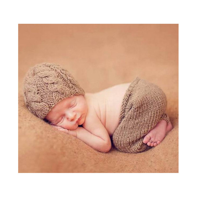 Color grey newborn outfit knitted beanies and trousers photo props baby boys knit hat pattern toddler