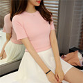 2016 new summer brief slim all-match short sleeve sweater female knitted shirt women basic O-Neck shirt pullover top