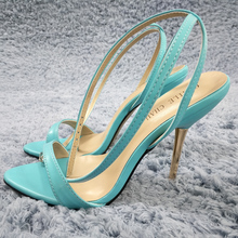 Women Stiletto Thin Iron High Heel Sandals Sexy Ankle Strap Buckle Open Toe Sky Blue PU Party Bridals Ball Lady Shoes 3845-i6