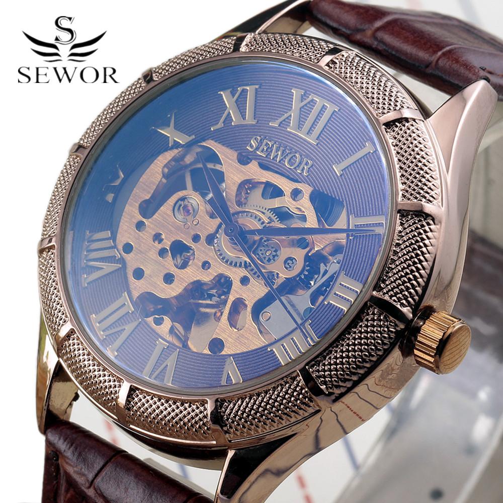 Luxury SEWOR Leather Band Mens Skeleton Klocka Guld Roman Design - Herrklockor
