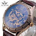 Luxury SEWOR Leather Band Mens Skeleton Clock Gold Roman Design Military Automatic Watch Mechanical Wrist Watches For Men Gift