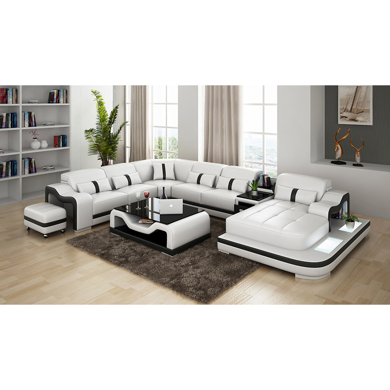 White Chinese genuine sofa with leather sofa set title=