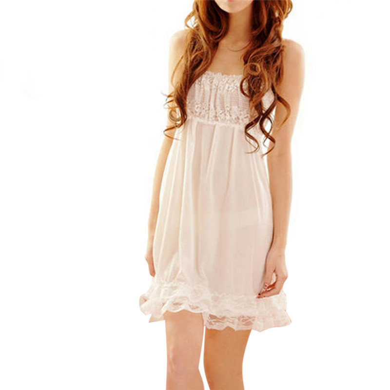 Sexy Lace Spaghetti Strap Women   Nightgown   Lovely Ice Silk V-Neck Female Night Gown Lingerie Dress   Sleepshirts