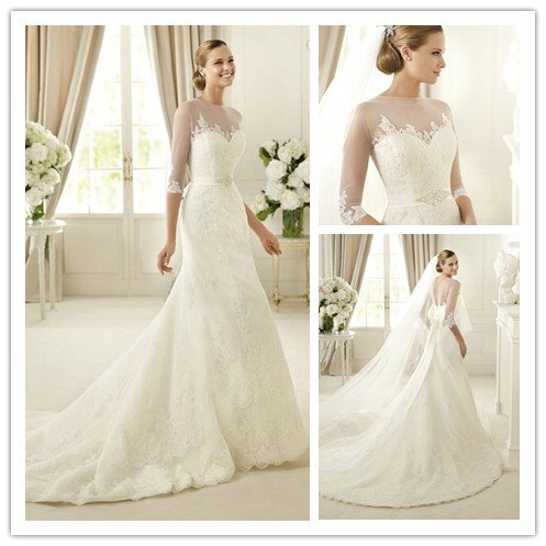 2013 New arrival floor length elegant lace 3 4 sleeve wedding ...