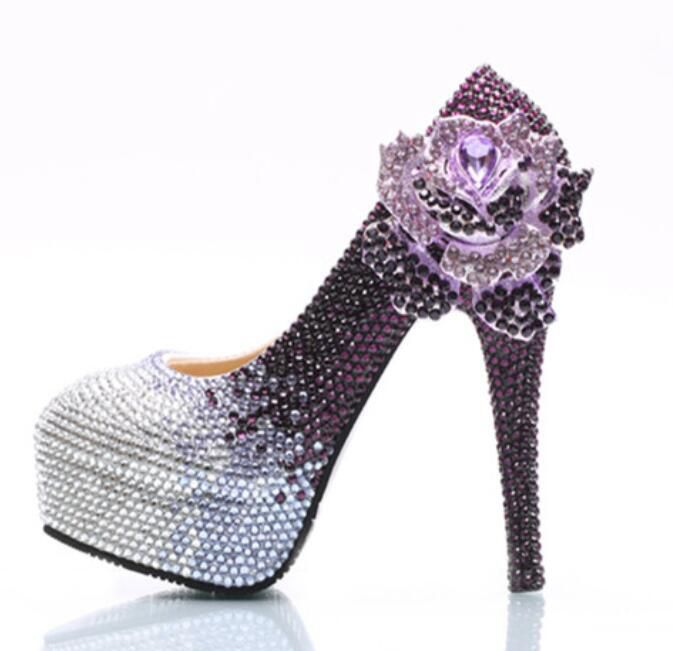 Purple silver crystal wedding party pumps shoes woman super high heels platforms HS145 crystal rhinestone rose flower party shoe