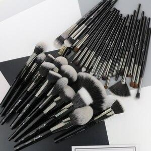 Image 3 - Beili preto 35 peças profissional natural maquiagem escovas conjunto de mistura sobrancelha corretivo delineador fundação pó escova maquiagem