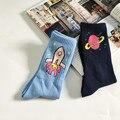 Novidade coreano meias meias masculinas das Mulheres Criativo Foguete Saturno Caricatura Meias Retro Meias de Algodão Puro