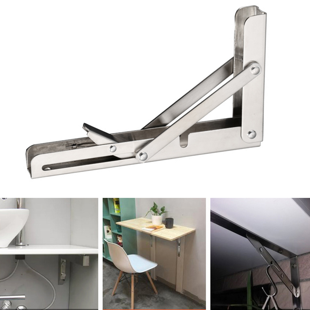 6PCS Stainless Steel Triangle Folding Shelf Bracket Support Wall Table Bracket