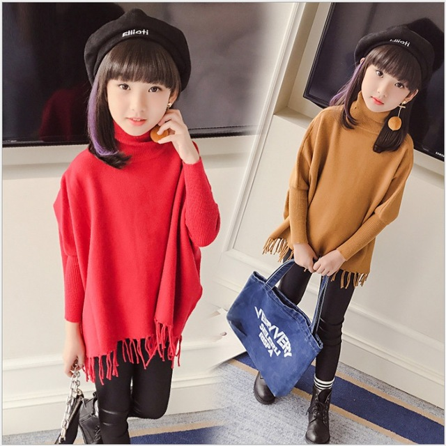 b4ff2c34f batwing sleeve fringe pullover fille sweaters for kids girls knitted ...