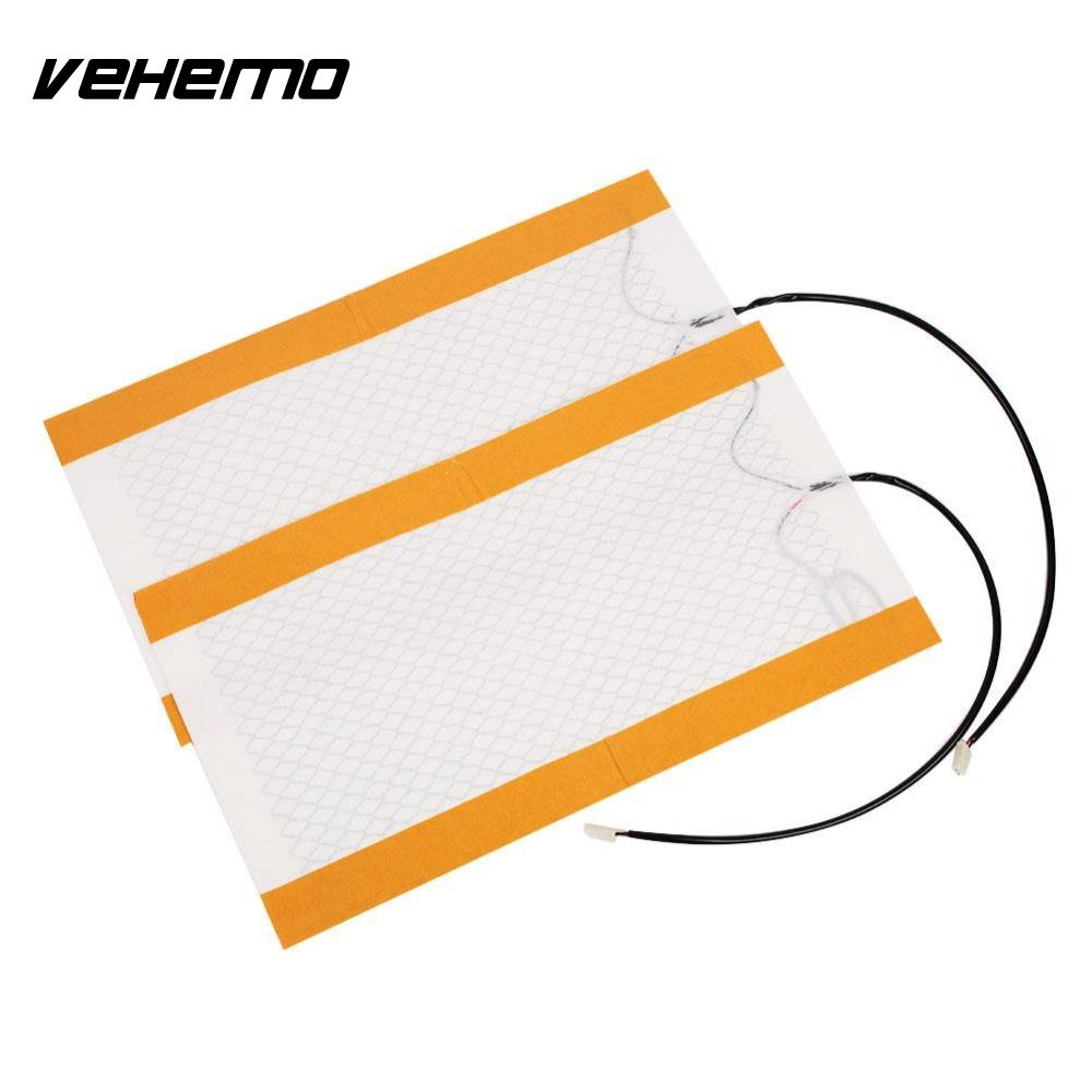 Vehemo 2Pcs Carbon Fiber Heating Auto Car Seat Cushion Universal Heater Cushion For BMW E46 FORD FOCUS 2 3 MAZDA 3 CX5 NISSAN