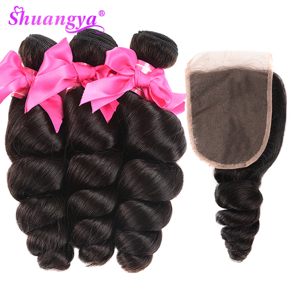 Shuangya Hair Loose Wave Human Hair 3 Bundles With Closure Free Middle Part Brazilian Hair Weave
