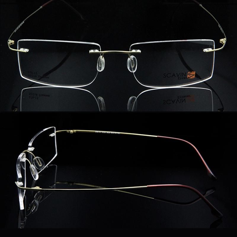 Image 4 - ESNBIE Computer Rimless Titanium Glasses Frame men Memory Eyeglass Frames 7 Colors Square Shape Prescription Eyewearprescription eyewearrimless titanium glasses framestitanium glasses frame -