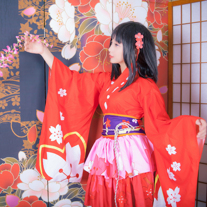 Elegant Women Cosplay Costume Japanese Style Lady Geisha Clothing Vintage Original Tradition Yukata Dress Sexy Red Cherry Kimono