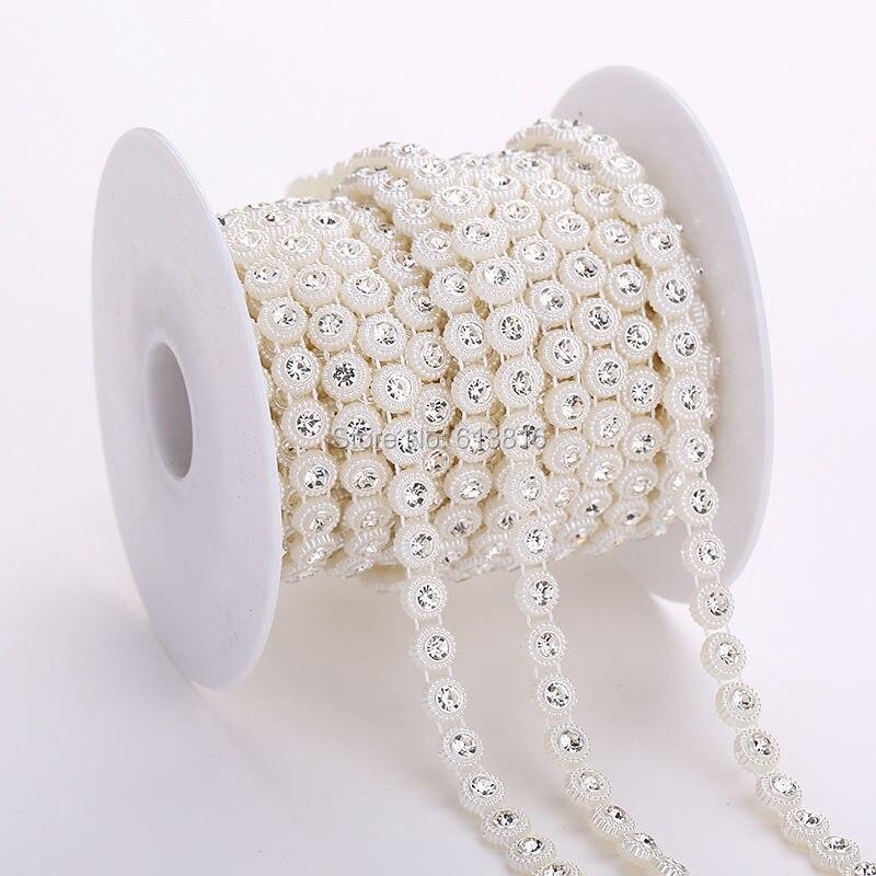 8mm Pearl lanac plastična čaša s čistim kristalnim biserima lanac - Umjetnost, obrt i šivanje - Foto 1