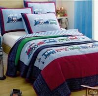 Boy trainset quilt cover Quilt Set 2Pcs/set American applique embroidery cotton Cover summer use room home Dec FG192