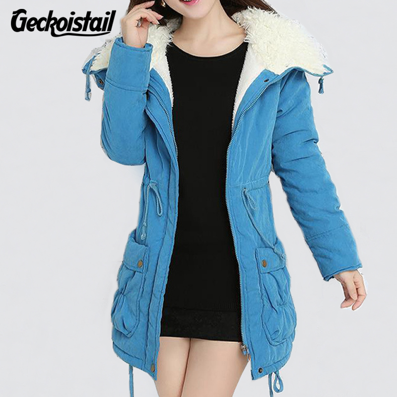 Geckoistail New Winter Coat Women Slim Plus Size Outwear Medium-Long Wadded Jacket Thick Hooded Cotton Fleece Warm Cotton Parkas geckoistail 2017 new fashional women jacket thick hooded outwear medium long style warm winter coat women plus size parkas