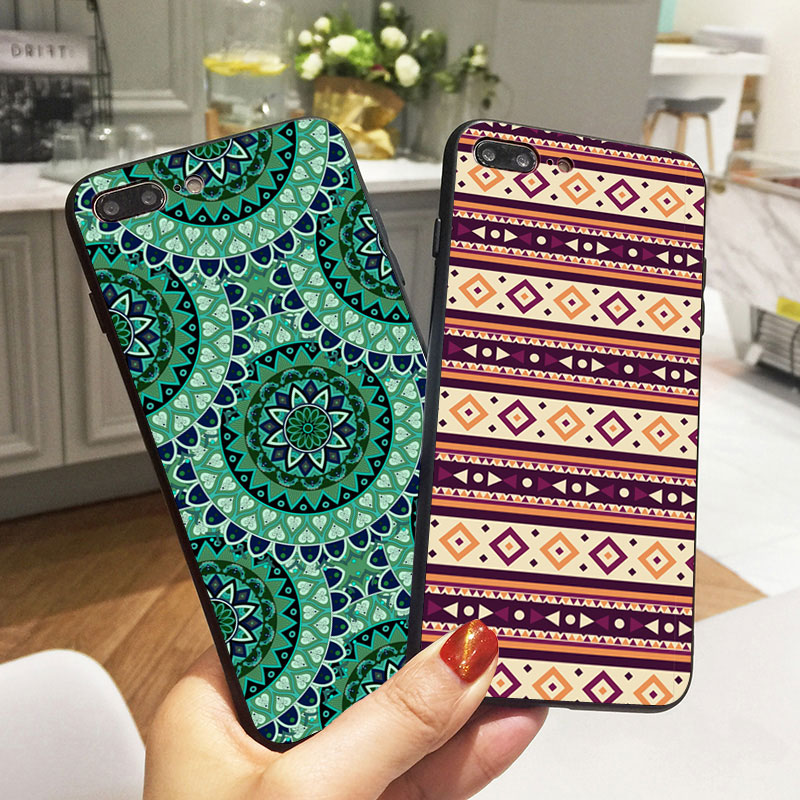 2243745b887 Floral Paisley Flower Mandala Henna Phone Case For iPhone X XR XS Max 8 5 S  5S SE 7 Plus 6 6S Case Black Silicone Soft Cover-in Half-wrapped Case from  ...
