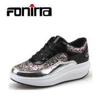 FONIRRA Phụ Nữ Sneaker Lắc Giày Thời Trang Mùa Xuân Bling Tăng Giày Thoải Mái Khỏe Mạnh Đi Giày Thường 136