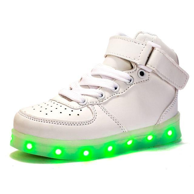 PU Breathable LED Kids Skateboarding Shoes USB Charged High-top Sneakers For Boys And Girls 16-23CM Luminous Zapatillas