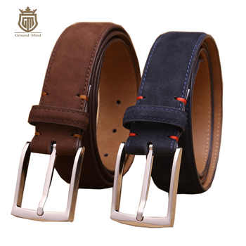 luxury men's first layer cowhide nubuck leather belt high quality designer suede-like genuine leather for dress/business - DISCOUNT ITEM  75% OFF All Category