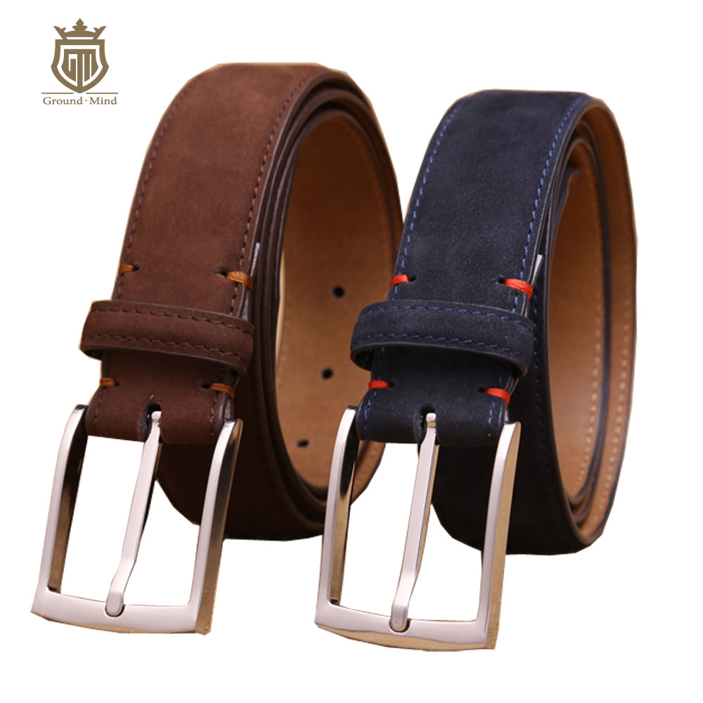 luxury men's first layer cowhide nubuck leather   belt   high quality designer suede-like genuine leather for dress/business
