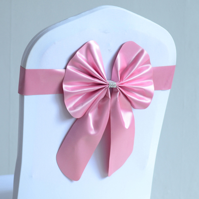 Pink Colour Wedding Chair Sashes Spandex Chair Sashes Lycra Stretch Band Bow Tie Butterfly Party Hotel Show Decoration