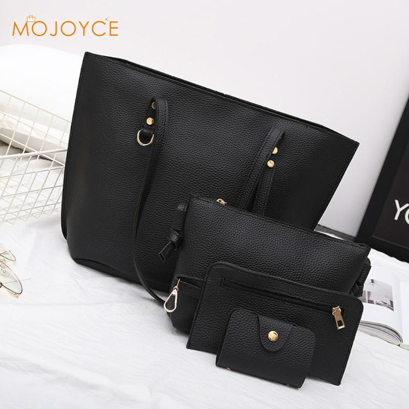 4pcs bags Women Simple PU Leather Shoulder Crossbody Bag Female Fashion Day Clutch Bag Card Holder Purse Bag Set Bolsa feminina|bolsa feminina|bag set|day clutches - title=