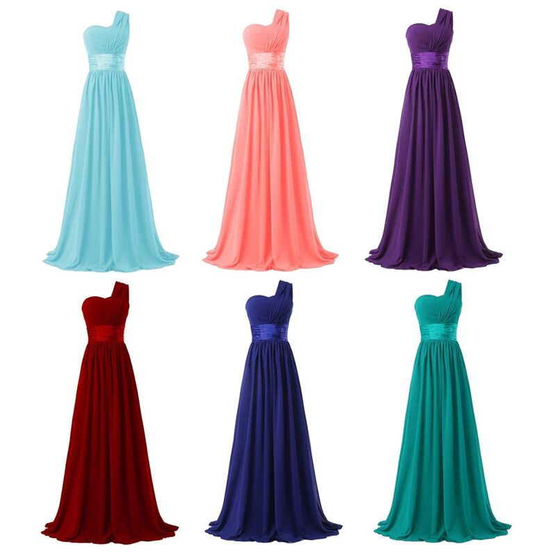 2017 Long Bridesmaid Dress One Shoulder A Line Chiffon For Women Elegant Fashion Style Purple Blue