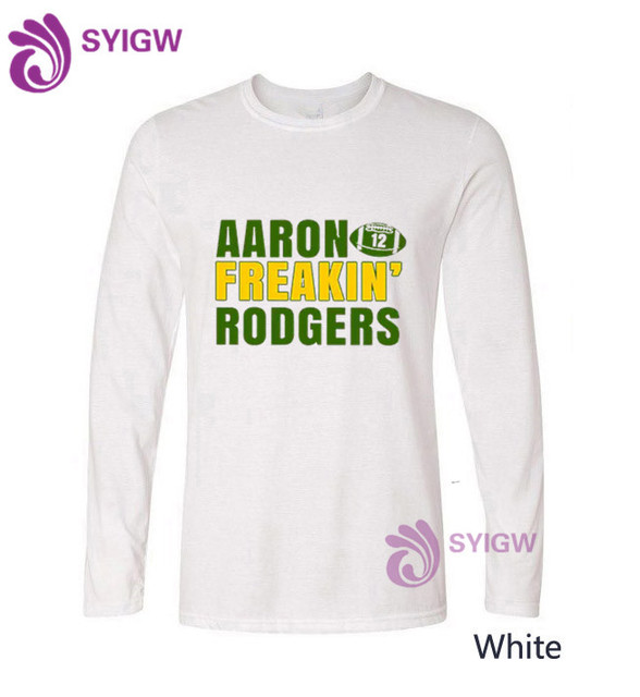 b0f0ea6f aaron rodgers Printed T-Shirt Men long sleeve T Shirt Mens Fashion men T  Shirts