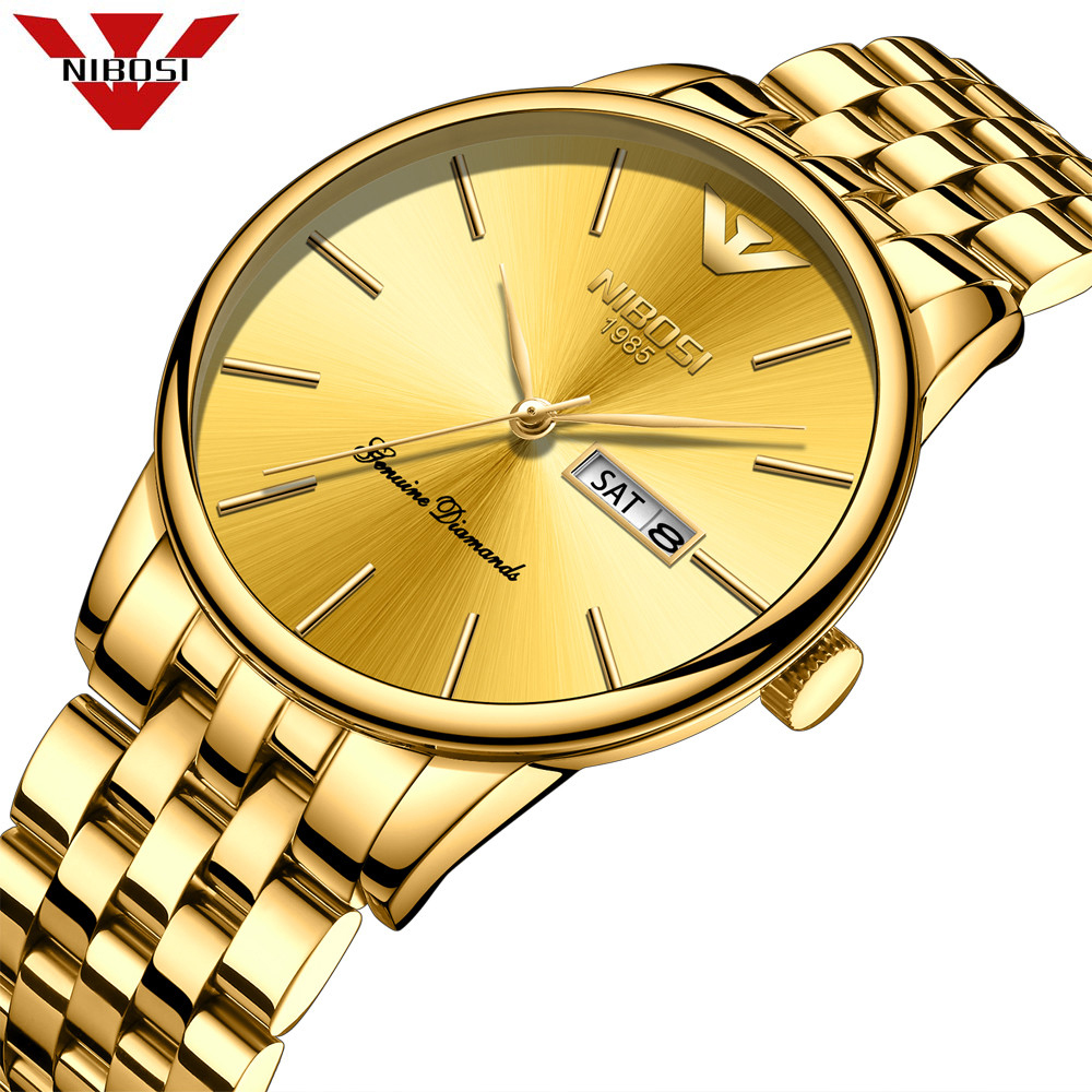 NIBOSI Mens Watches Top Brand Luxury Business Quartz Gold Watch Men Full Steel Fashion Waterproof Sport Clock Relogio Masculino