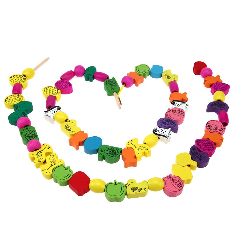 45pcs/lot Wooden Animal Fruit Block stringing beaded Toys For Children Learning & Education Colorful Products